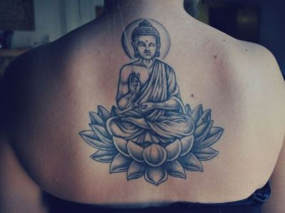 Buddha lotus flower tattoo on back