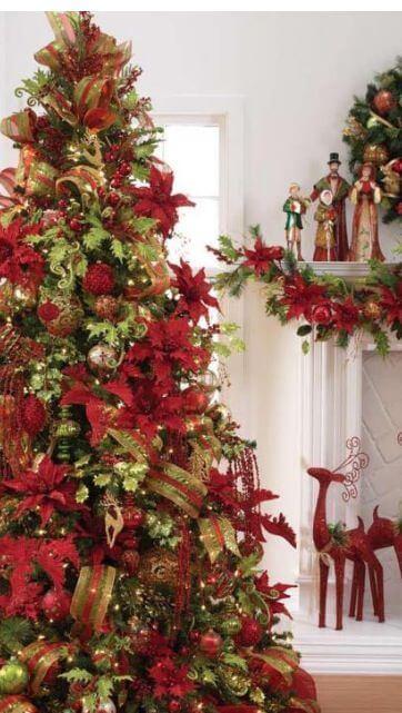 Christmas tree flower decorations