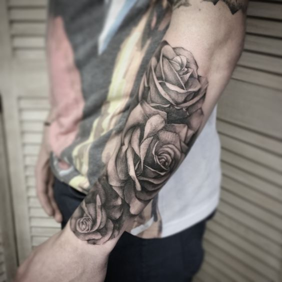 black and grey rose tattoo for men forearm