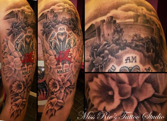 castle and daffodils flowers tattoo for men sleeve