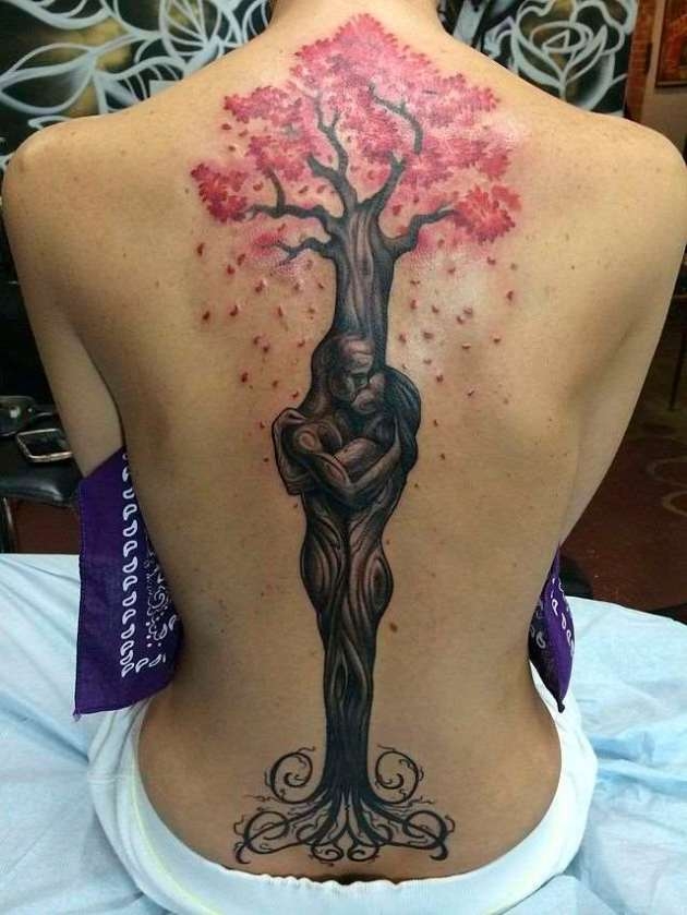 large pink leaves bodhi tree tattoo on back