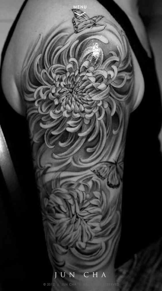 men half sleeve chrysanthemum tattoo design