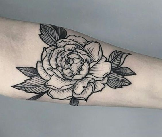white peony flower with leaves tattoo on forearm for men