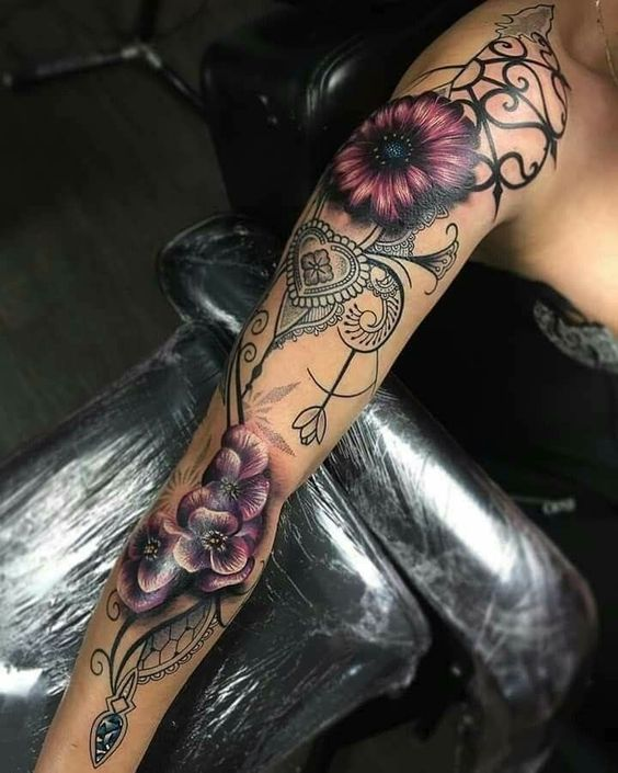 female full sleeve flower lace tattoo design