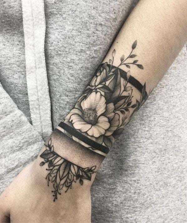 floral bracelet tattoo for girls