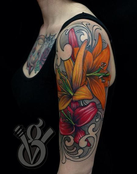 lily flowers tattoo on half sleeve for women
