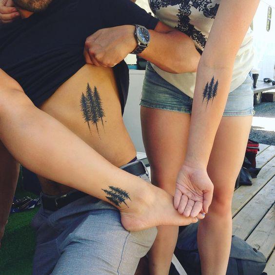 matching evergreen tree tattoos for best friends