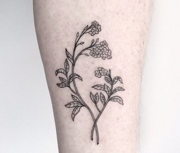 outlined forget me not floral tattoo design on forearm