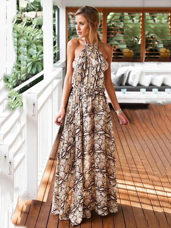 printed strapless maxi outfit ideas for spring 2019