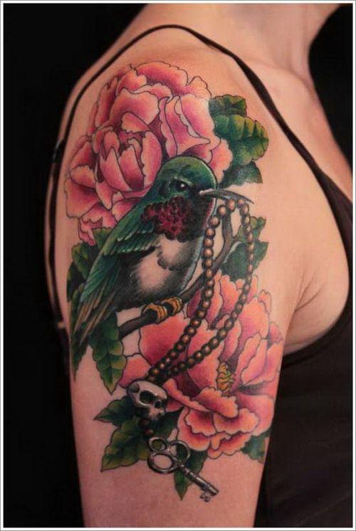 quarter sleeve female flower  and bird tattoo
