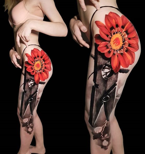 3d leg tattoo ideas for women