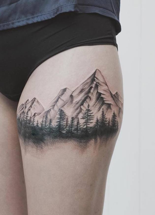 forest with mountains tattoo design