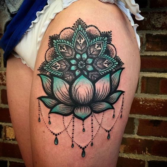 mandala lotus and chandelier tattoo design