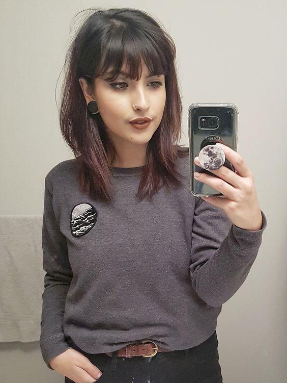 medium length layered haircut with bangs
