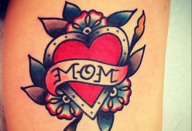 old school heart banner tattoo