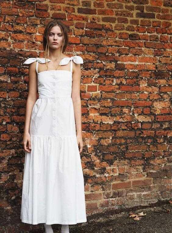 white cotton women summer dress