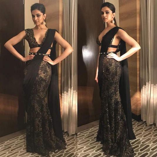 DeepikaPadukone Black Saree