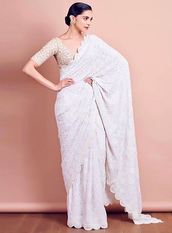 Deepika Padukone in White Saree