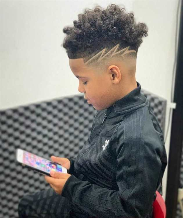 Fade Haircut For Black Boys With Design 26