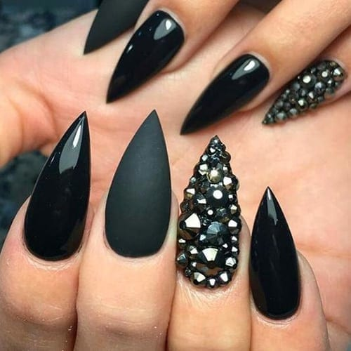 black stiletto rhinestone nail designs