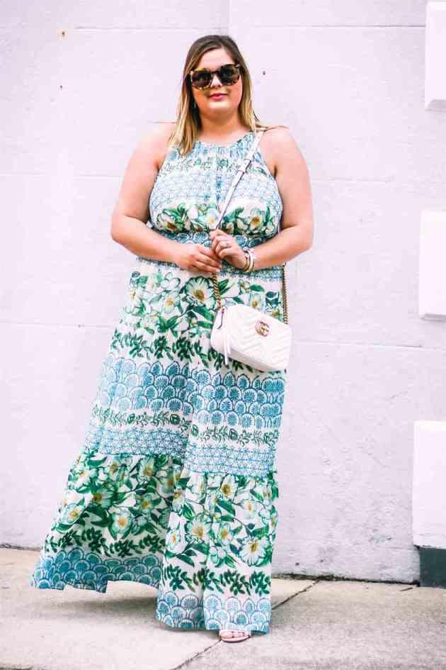 floral maxi summer dress for plus size women