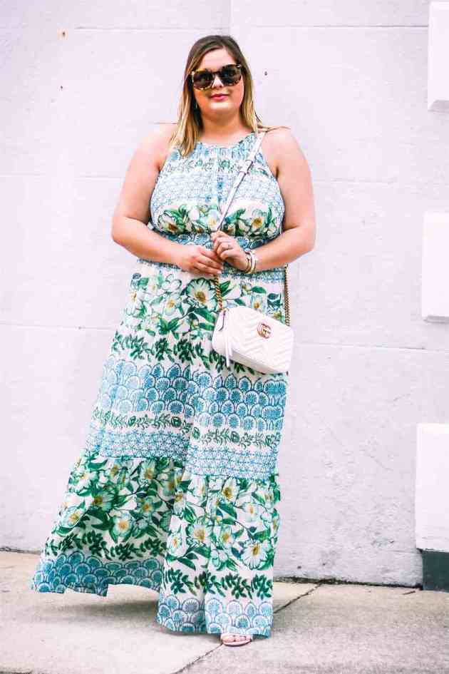 floral maxi summer dress for plus size women