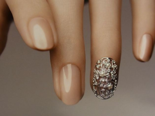 nude nails with diamonds and freshwater pearls for new year
