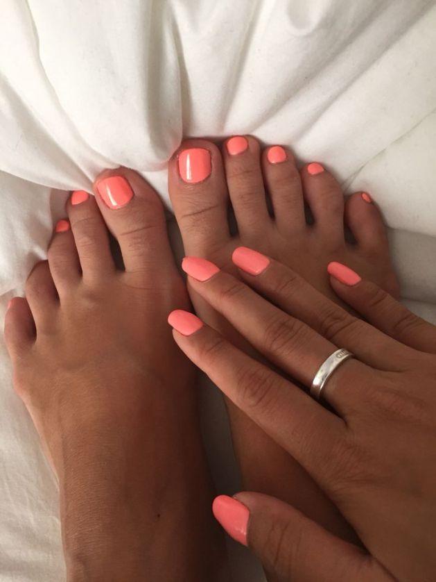 peach summer nail art