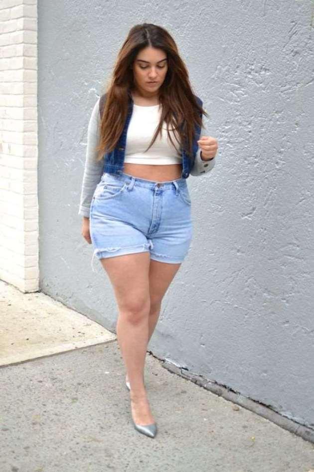 plus size women denim jeans shorts outfits