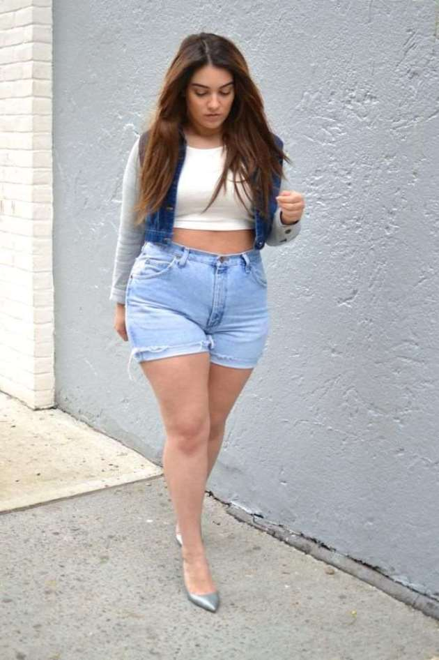 plus size women denim jeans shorts outfits