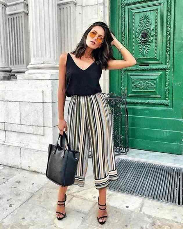summer stripe culottes outfits