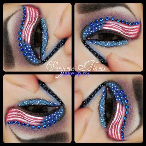 4th of july american flag eye makeup