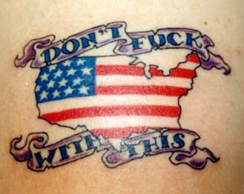american flag map tattoo with quote
