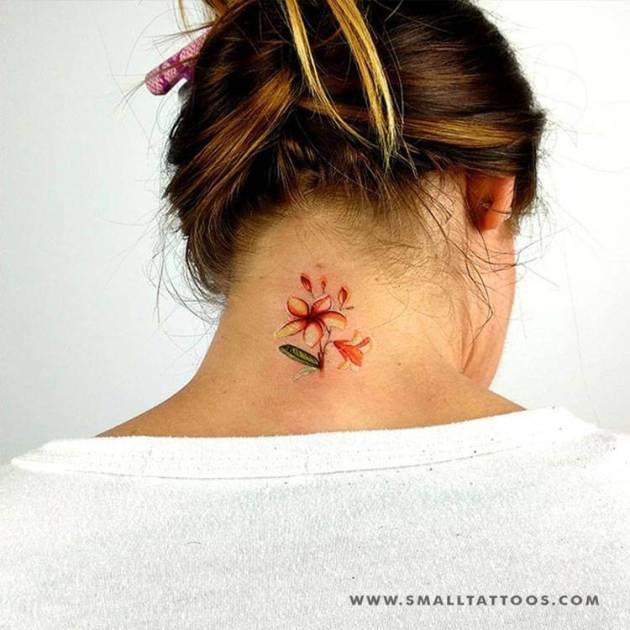 plumeria flower tattoo back of neck