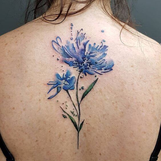 blue watercolor cornflower tattoo on back for women