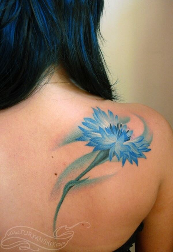 gorgeous watercolor conflower tattoo on back for females