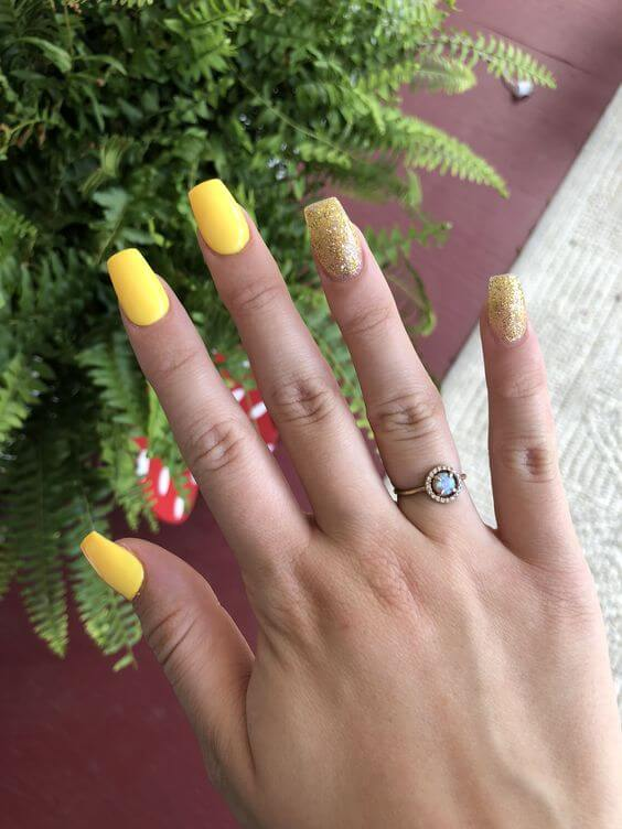 yellow acrylic nails with glitter