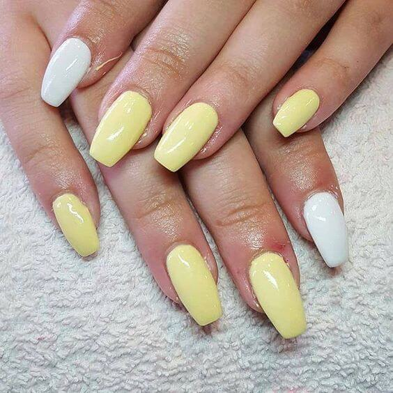 yellow and white nails