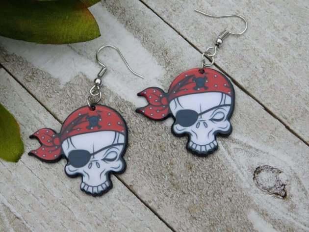 pirate skull earrings jewelry