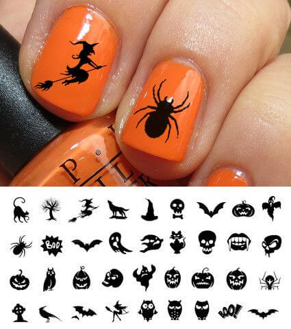 spooky creepy hallowen nail art stickers