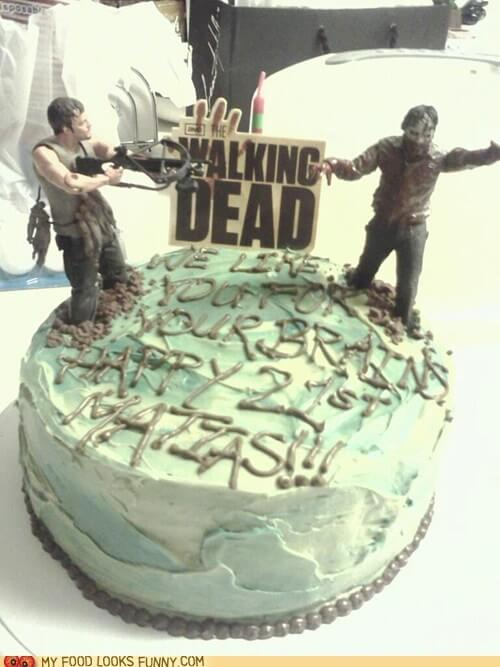 a simple the walking dead Halloween wedding cake