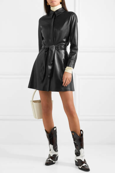 belted vegan leather mini dress