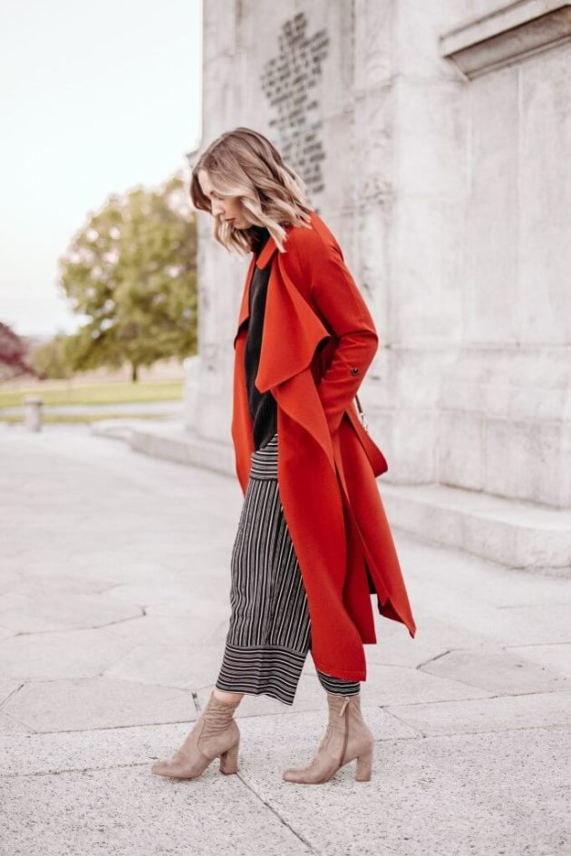 red trench coat outfits