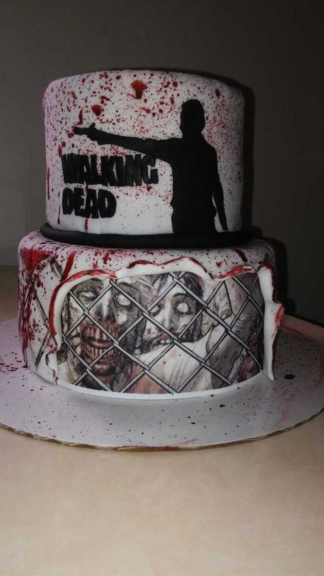 the walking dead blood splatter wedding cake