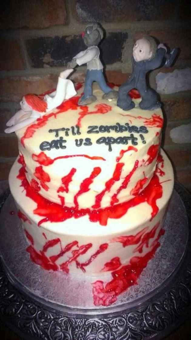 till zombies eat us apart halloween wedding cake