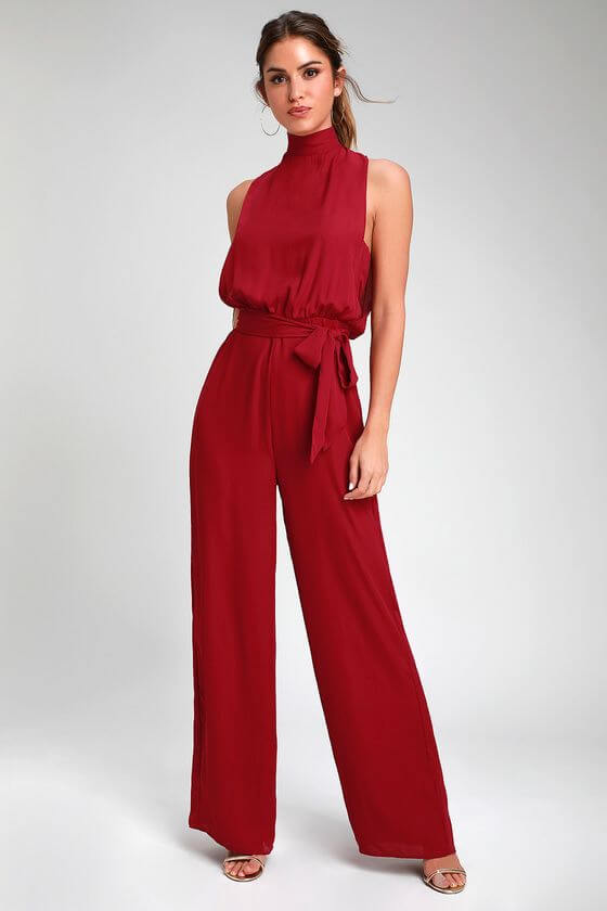 backless wine red girls jumpsuit ideas for christmas
