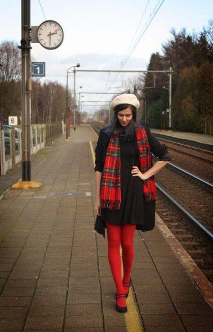 black dress with red tights christmas chruch outfit ideas for women