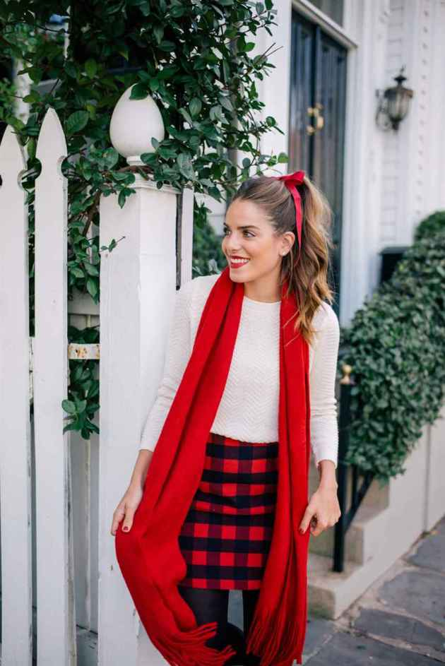 christmas holidays skirt outfit ideas for girls