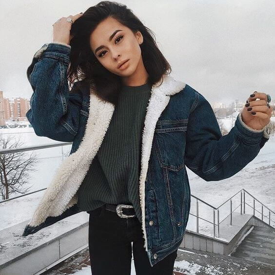 denim fur jacket outfit ideas for winter