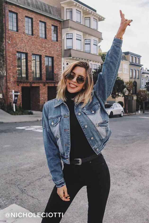 denim jacket casual winter outfits